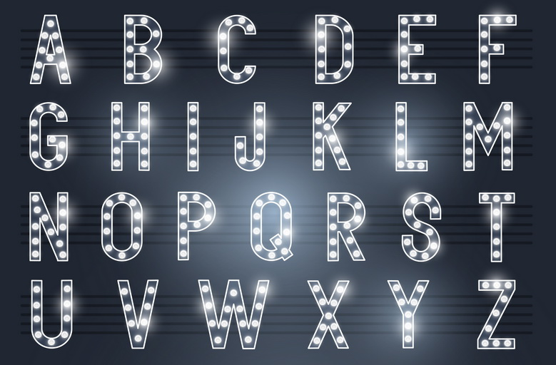 Алфавит ретро букв
